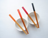 SOLAR FLARE >> 4 Pairs of Paint Dipped Rustic Bamboo Chopsticks // Orange Red Black