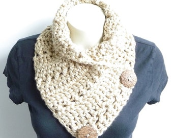 CROCHET PATTERN Button Scarf Bulky Scarf Womens Scarf Crochet Neck Warmer Crochet Button Cowl Womens Cowl Button Neckwarmer Chunky Scarf