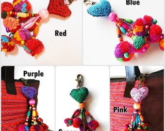 Heart Hanging Little Pom Poms Keychain Zip Pull Bag Accessory Decoration by Handmade. (AC1007)