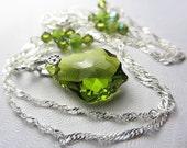 Swarovski Olive Green Necklace Swarovski Green Crystal Necklace Green Crystal Baroque Briolettes Olivine Pendant Necklace Gift for her