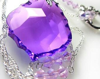 LARGE Swarovski Purple Baroque Necklace Violet Amethyst Purple Crystal Baroque Briolette Amethyst Pendant Gift for her February birthstone