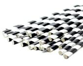 B20 Paper Straw. Striped. Black. White.