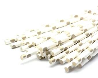 B20 Paper Straw. Polka Dots. Metallic Gold. White. L.