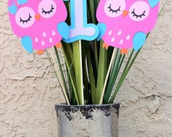 Owl Centerpiece - Pink, Turquoise, Lavender, Custom Birthday Decor