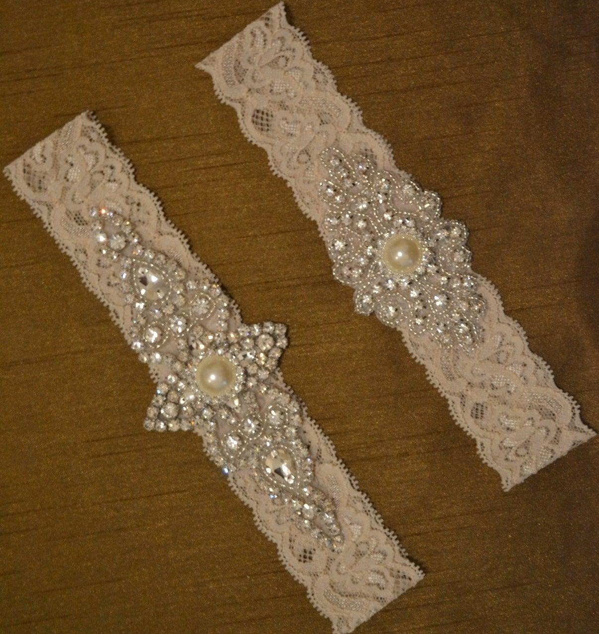 Rhinestone Wedding Garter Set Elegant Bridal By