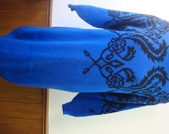 Vintage 80s Dressy Tessy Blue Black Sweater Tunic Dress L  Acrylic Mock T