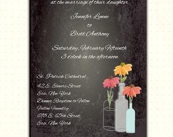 Casual Wedding Invitation, chalkboard, flowers, post celebration, fun, reception, rehearsal, digital, printable, invite W1414