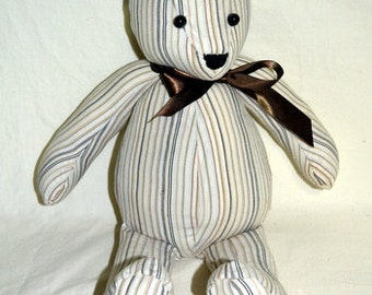 Handmade Remembrance, Memory, Keepsake Bear, Memory Bear, Memorial Bear, Stuffed Animal, Teddy Bear