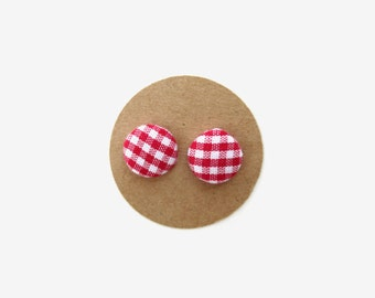 Red Gingham Earrings, Fabric Button Earrings, Fall Fashion, Fall Accessories, Autumn Trends, Game Day Earrings, Alabama, Georgia, Football