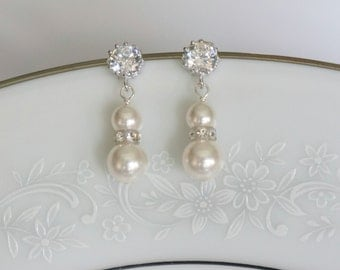 Bridal Earrings Pearl Bridal Earrings Crystal Earrings Bridal Jewelry Wedding Jewelry