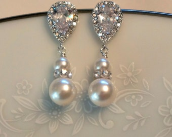 Pearl Bridal Earrings Crystal Bridal Earrings Pearl Bridal Jewelry Wedding Jewelry Pearl Bridesmaid Earrings