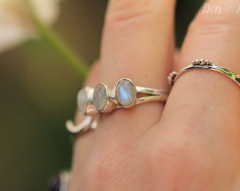 Triple, Moonstone Ring, Statement Personalized, Moonstone, Ring, Rainbow Moonstone, Gemstone, Gypsy, 925 Sterling Silver, Ring, Boho Chic