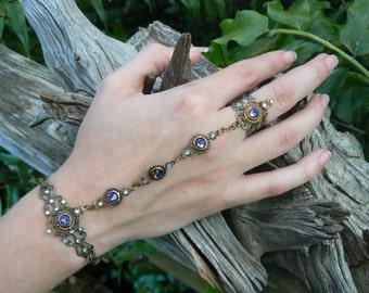 purple Swarovski hand chain Coachella hand flower slave bracelet bohemian mothers day steampunk  victorian goddess pagan witch boho gypsy