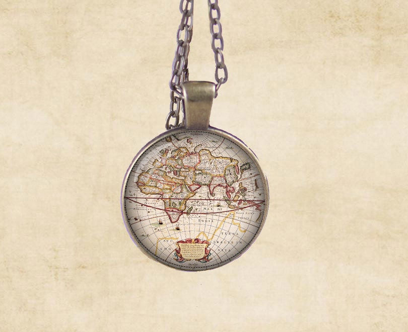 Antique world map Print Necklace Pendant glass by Monedus on Etsy