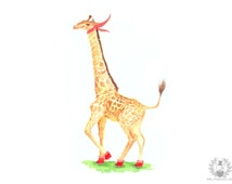 Medium giraffe with boots illustration print 23X16 cm // 9.05X6.29 inch- Nursery art - Animal illustration for children - Home decor