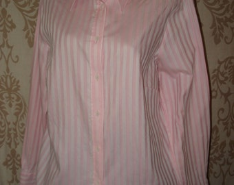 VINTAGE COTTON SHIRT in white and pink, lovely elegant women's cotton shirt blouse gift idea