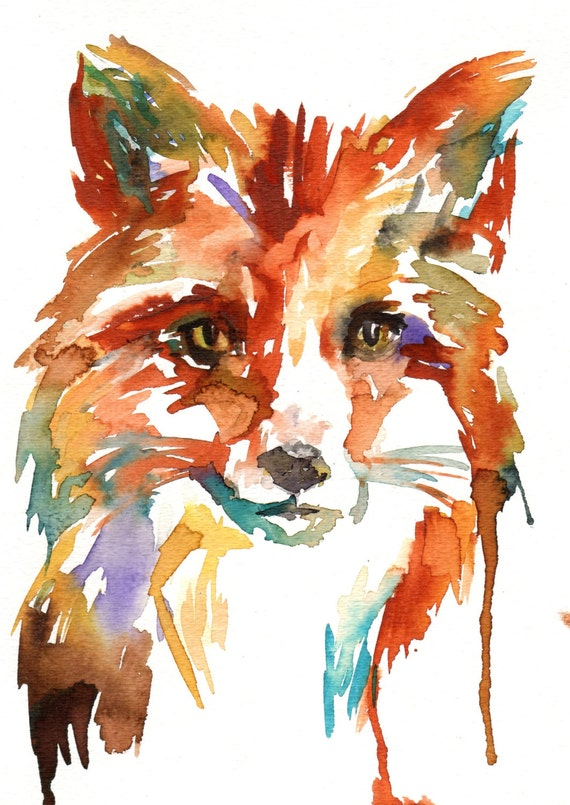 What's the Fox Say? by Jessica Buhman 8 x 10 Original Watercolor Painting Pink Fuschia Orange Yellow Tan Brown
