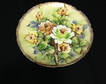 Vintage 1940's Hand Painted Wild Rose Collectors Plate  (LDT2)