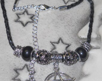 Heavy Metal Pentacle on Braided Black Leather Cord Choker Pewter/Sliver/Leather Supernatural