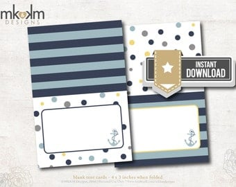 Nautical Bridal Shower : Tent Cards - Food Cards - Place Cards - Tying The Knot - INSTANT DOWNLOAD - #2107 Navy & Yellow