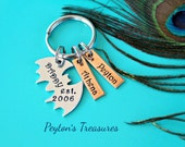 Father's Day- Hand Stamped Bat Keychain with Copper Tags- Daddy Est- Daddy Keychain- Aluminum Keychain- Father's Day- Daddy Gift- Dad