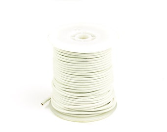 2mm Leather Cord, White Genuine Leather Cord, Round Leather Cord, Pkg of 30 ft., D0F6.WH58.L30F