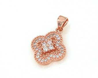 Rose Gold Pave Four Leaf  Clover Pendant, CZ Crystal Pave Charm, Cubic Zirconia Pave on Copper, 15x15mm, Pkg of 1 PCS, C0M1.RG04.P01