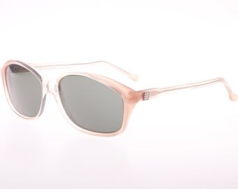 Givenchy vintage clear & pink sunglasses, signature plaque on temples, 1970s NOS