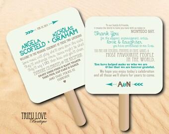 Personalized Lovestruck Sweetheart & Arrows Wedding Ceremony Program Fan - Digital File