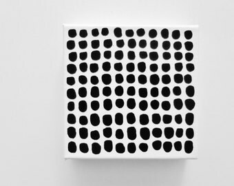 pOlka dOt raindrOps - 6 x 6 inch Canvas - Small Fine Art Painting Modern Art Minimalist Art Black and White Polka Dot Painting LYNDA BLACK