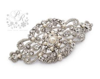 Wedding Brooch Swarovski Pearl Rhinestone Brooch Bridal brooch Wedding Accessory Bridal Accessory Bridal Jewelry Bridesmaid Brooch Aimee