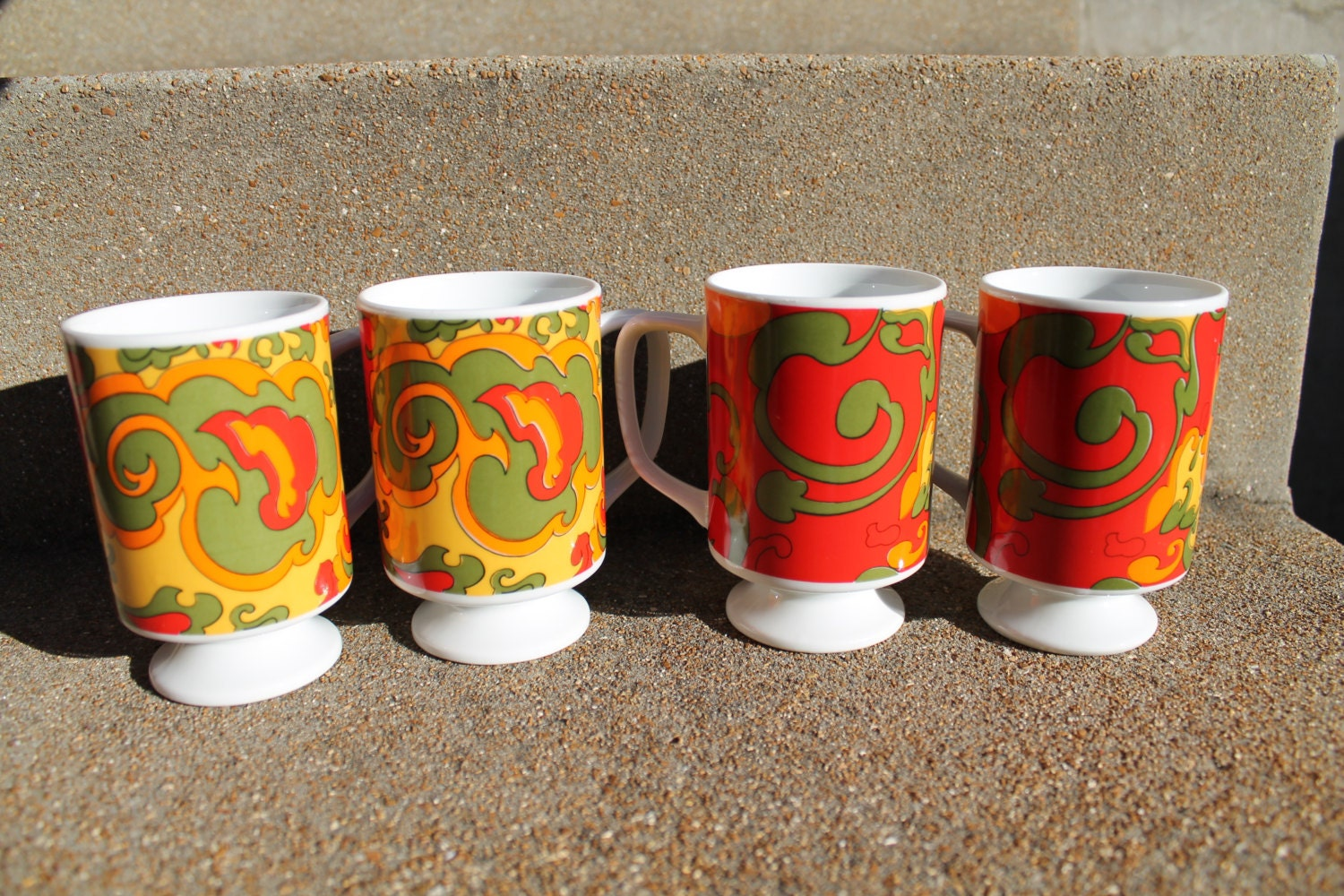 Modern Coffee Cups Tea Cup Footed Cups Psychedelic Mugs