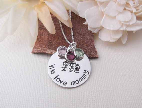 We Love Mommy Necklace- Hand Stamped Mom Necklace- Mommy Jewelry- Mother's Day Gift- Stick Figure Necklace- Children Gift To Mom-