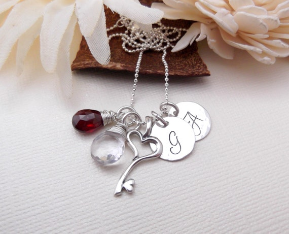 Personalized Mom Necklace-  Initial Mommy Jewelry- Hand Stamped Mom Necklace-  Heart Key Necklace-  Briolette Birthstone Necklace