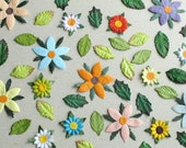 Mixed Die Cut Flowers & Leaves - 200 assorted pieces - Made of mulberry paper - Great for scrapbooking and creative craft projects
