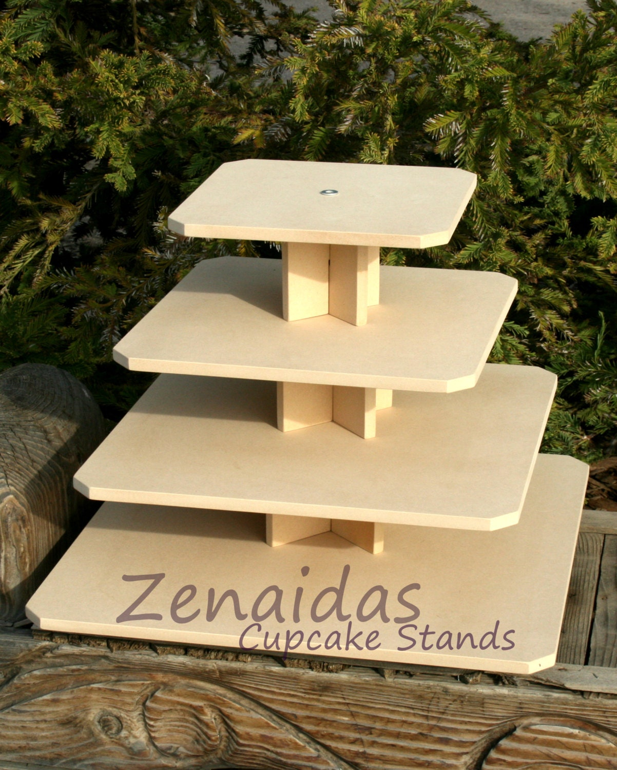 how to make a 4 tier square wedding cake cupcake stand square 4 tier with threaded rod mdf wood diy 15788