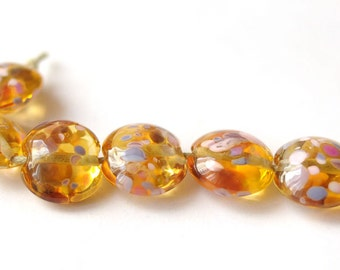 6 pcs Glass Lampwork Bead - Lentil Focal Honey Transparent Multicolor