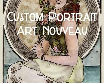 Custom Portrait - Art Nouveau yourself! A custom art nouveau portrait - size 16.5 x 11.4 inches