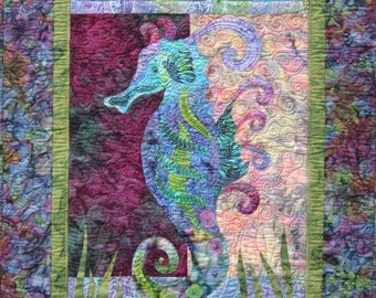 Sea Gem raw edge applique and pieced seahorse wall quilt pattern