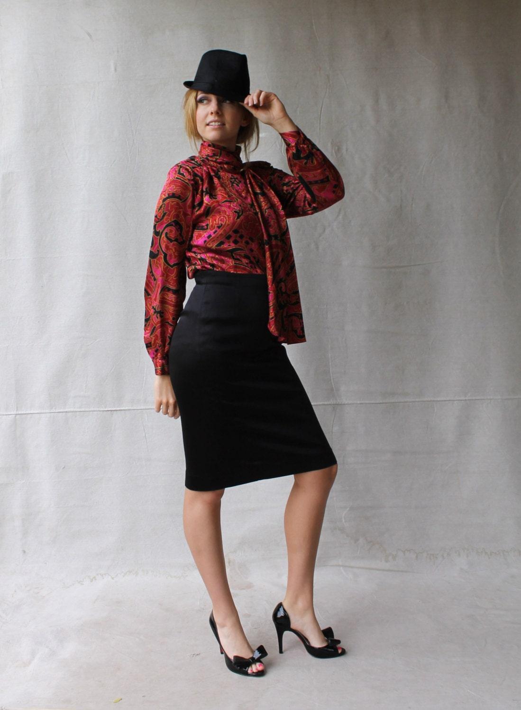 designer high waist black satin pencil skirt by part two