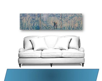 extra large wall art Large painting original art up to 60 ln x 16 triptych Christian art abstract large art couple abstract cross couple