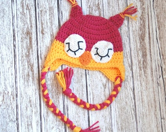 Sleepy owl crochet hat for girls in pink and yellow