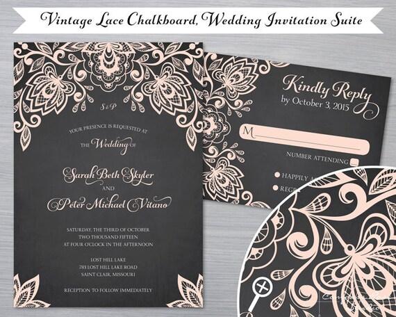 Chalkboard Wedding Invitations: Items Similar To Chalkboard Lace Wedding Invitation Suites