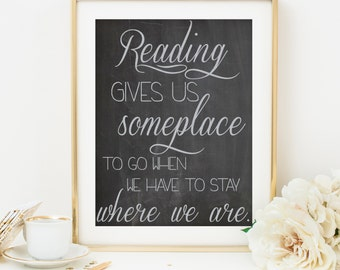 reading print reading printable kids room art kids room print printable poster printable wall art printable quote art dorm room decor
