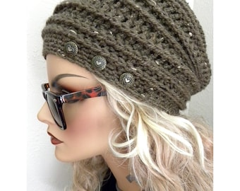 Tweed Slouchy Hat  Honey Comb design Bohemian Chic Hand Crocheted  Hat  women teens  fall autumn winter fashion accessories