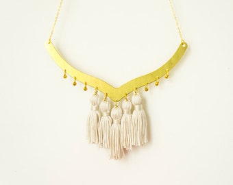 Coala Tassel Necklace Tassel Jewelry Arc Necklace Ivory Necklace Statement Necklace Gold Necklace Designer Necklace Gift For Her