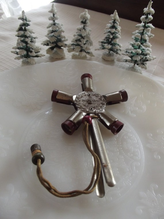 Noma Metal Star Lighted Christmas Tree Topper 1929 Cloth Cord