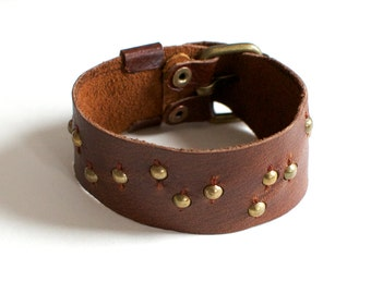 Studded Leather Buckle Cuff Bracelet - Gold Metal Beads