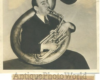 Victor A Meyers w helicon tuba antique jazz music photo