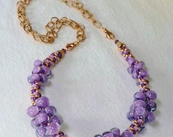 Purple Twilight Unicorne Teardrops and Rose Gold Kumihimo Necklace, Handmade, SRAJD 3520